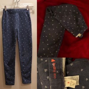 J. Crew, Girls Cozy Legging, Blue w/ hearts, Sz 10